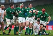 20 March 2021; The Ireland front row forwards, from left, Tadhg Furlong, Rob Herring and Cian Healy, celebrate a scrum penalty during the Guinness Six Nations Rugby Championship match between Ireland and England at the Aviva Stadium in Dublin. Photo by Ramsey Cardy/Sportsfile