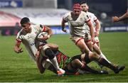 19 March 2021; Cormac Izuchukwu of Ulster is tackled by Mick Kearney of Zebre during the Guinness PRO14 match between Ulster and Zebre at Kingspan Stadium in Belfast. Photo by David Fitzgerald/Sportsfile