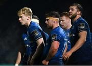 19 March 2021; Leinster players, from left, Jamie Osborne, Marcus Hanan and Ross Molony during the Guinness PRO14 match between Leinster and Ospreys at RDS Arena in Dublin. Photo by Brendan Moran/Sportsfile