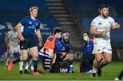 19 March 2021; Michael Bent of Leinster is attended to for an injury by Leinster rehabilitation therapist Fearghal Kerin, left, and academy physiotherapist Darragh Curley during the Guinness PRO14 match between Leinster and Ospreys at RDS Arena in Dublin. Photo by Brendan Moran/Sportsfile