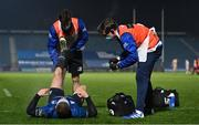 19 March 2021; Leinster rehabilitation therapist Fearghal Kerin, left, and academy physiotherapist Darragh Curley give medical attention to Seán Cronin of Leinster during the Guinness PRO14 match between Leinster and Ospreys at RDS Arena in Dublin. Photo by Brendan Moran/Sportsfile
