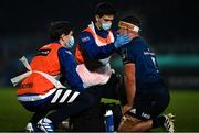 19 March 2021; Leinster rehabilitation therapist Fearghal Kerin, centre, and academy physiotherapist Darragh Curley give medical attention to Scott Penny of Leinster during the Guinness PRO14 match between Leinster and Ospreys at RDS Arena in Dublin. Photo by Brendan Moran/Sportsfile