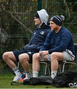 22 March 2021; Jonathan Sexton, left, and Seán Cronin during Leinster Rugby squad training at UCD in Dublin. Photo by Ramsey Cardy/Sportsfile