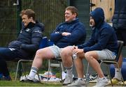 22 March 2021; Josh van der Flier, left, Tadhg Furlong, centre, and Hugo Keenan during Leinster Rugby squad training at UCD in Dublin. Photo by Ramsey Cardy/Sportsfile