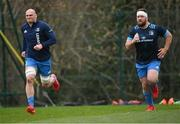 22 March 2021; Rhys Ruddock, left, and Michael Bent during Leinster Rugby squad training at UCD in Dublin. Photo by Ramsey Cardy/Sportsfile