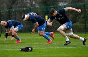 22 March 2021; Ryan Baird, right, Michael Bent, and Rhys Ruddock during Leinster Rugby squad training at UCD in Dublin. Photo by Ramsey Cardy/Sportsfile
