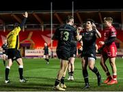 22 March 2021; Sean O'Brien of Connacht, 13, is congratulated by team-mates after scoring his side's third try during the Guinness PRO14 match between Scarlets and Connacht at Parc y Scarlets in Llanelli, Wales. Photo by Gareth Everett/Sportsfile