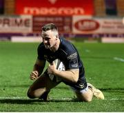 22 March 2021; Sean O'Brien of Connacht dives to score his side's third try during the Guinness PRO14 match between Scarlets and Connacht at Parc y Scarlets in Llanelli, Wales. Photo by Gareth Everett/Sportsfile