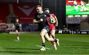 22 March 2021; Sean O'Brien of Connacht on his way to scoring his side's third try during the Guinness PRO14 match between Scarlets and Connacht at Parc y Scarlets in Llanelli, Wales. Photo by Gareth Everett/Sportsfile