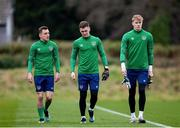 23 March 2021; Lee O'Connor, left, Brian Maher, centre, and Joe O'Shaughnessey during a Republic of Ireland U21's training session at Colliers Park in Wrexham, Wales. Photo by David Rawcliffe/Sportsfile