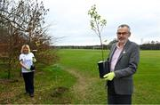 26 March 2021; To mark the launch of Phase 1 of the GAA Green Club Programme, the Easy Treesie – Crann Project (www.easytreesie.com) supported by Coillte (www.coillte.ie) and Trees on the Land (www.treesontheland.com) have agreed to provide GAA, Camogie and LGFA clubs with a generous allocation of native tree saplings, which due to current restrictions on access to Clubs will be distributed at the beginning of the next planting season in November. Coillte and Trees on the Land will donate and deliver approx. 50,000 native saplings to the project. To mark National Tree Week Uachtarán Cumann Luthchleas Gael, Larry McCarthy, planted a native oak, presented by Orla Farrell, Project lead of Easy Treesie. The planting took place on Fingal County Council land at Malahide Castle adjacent to the St Sylvester's GAA playing fields. Pictured are Orla Farrell, Project lead of Easy Treesie and Uachtarán Chumann Lúthchleas Gael Larry McCarthy after planting a native oak at Malahide Castle grounds in Dublin. Photo by Brendan Moran/Sportsfile