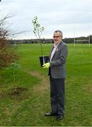 26 March 2021; To mark the launch of Phase 1 of the GAA Green Club Programme, the Easy Treesie – Crann Project (www.easytreesie.com) supported by Coillte (www.coillte.ie) and Trees on the Land (www.treesontheland.com) have agreed to provide GAA, Camogie and LGFA clubs with a generous allocation of native tree saplings, which due to current restrictions on access to Clubs will be distributed at the beginning of the next planting season in November. Coillte and Trees on the Land will donate and deliver approx. 50,000 native saplings to the project. To mark National Tree Week Uachtarán Cumann Luthchleas Gael, Larry McCarthy, planted a native oak, presented by Orla Farrell, Project lead of Easy Treesie. The planting took place on Fingal County Council land at Malahide Castle adjacent to the St Sylvester's GAA playing fields. Pictured is Uachtarán Chumann Lúthchleas Gael Larry McCarthy after planting a native oak at Malahide Castle grounds in Dublin. Photo by Brendan Moran/Sportsfile