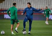 24 March 2021; Republic of Ireland coach Keith Andrews, right, in conversation with Callum Robinson ahead of the during the FIFA World Cup 2022 qualifying group A match between Serbia and Republic of Ireland at Stadion Rajko Mitic in Belgrade, Serbia. Photo by Pedja Milosavljevic/Sportsfile