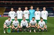24 March 2021; The Republic of Ireland team, back row, from left, Alan Browne, Matt Doherty, Dara O'Shea, goalkeeper Mark Travers, Callum Robinson and Ciaran Clark and front row, from left, captain Seamus Coleman, Josh Cullen, Aaron Connolly, Enda Stevens and Jayson Molumby ahead of the FIFA World Cup 2022 qualifying group A match between Serbia and Republic of Ireland at Stadion Rajko Mitic in Belgrade, Serbia. Photo by Stephen McCarthy/Sportsfile