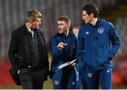24 March 2021; Republic of Ireland manager Stephen Kenny, left, with coaches Anthony Barry, centre, and Keith Andrews at half-time of the FIFA World Cup 2022 qualifying group A match between Serbia and Republic of Ireland at Stadion Rajko Mitic in Belgrade, Serbia. Photo by Stephen McCarthy/Sportsfile