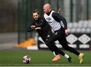 25 March 2021; Chris Shields, right, and Jesus Perez during a Dundalk training session at Oriel Park in Dundalk, Louth.  Photo by Ben McShane/Sportsfile