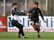 25 March 2021; Mayowa Animasahun, right, and Patrick Hoban during a Dundalk training session at Oriel Park in Dundalk, Louth.  Photo by Ben McShane/Sportsfile