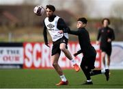 25 March 2021; Sam Stanton, left, and Ryan O'Kane during a Dundalk training session at Oriel Park in Dundalk, Louth.  Photo by Ben McShane/Sportsfile