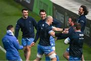 26 March 2021; Player, from left to right, Rory O'Loughlin, Rónan Kelleher, Jack Conan, Rhys Ruddock, Ed Byrne, Tadhg Furlong and Jack Dunne during the Leinster Rugby captains run at the RDS Arena in Dublin. Photo by Ramsey Cardy/Sportsfile