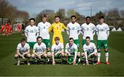 26 March 2021; The Republic of Ireland team, back row, from left, Will Ferry, Mark McGuinness, Brian Maher, Andrew Omobamidele, Jonathan Afolabi, Alex Gilbert, with, front row, Mason O'Malley, Will Ferry, Luca Connell, Lee O'Connor and Conor Noss before the U21 international friendly match between Wales and Republic of Ireland at Colliers Park in Wrexham, Wales. Photo by David Rawcliffe/Sportsfile