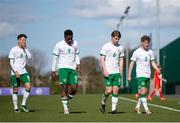 26 March 2021; Republic of Ireland players, from left, Conor Noss, Jonathan Afolabi, Luca Connell and Mason O'Malley leave the pitch at half time during the U21 International friendly match between Wales and Republic of Ireland at Colliers Park in Wrexham, Wales. Photo by David Rawcliffe/Sportsfile