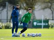 26 March 2021; Shane Duffy, left, and Dara O'Shea during a Republic of Ireland training session at the FAI National Training Centre in Abbotstown, Dublin. Photo by Seb Daly/Sportsfile