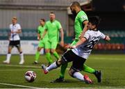 26 March 2021; Ryan O'Kane of Dundalk is tackled by Ethan Boyle of Finn Harps during the SSE Airtricity League Premier Division match between Dundalk and Finn Harps at Oriel Park in Dundalk, Louth. Photo by Eóin Noonan/Sportsfile