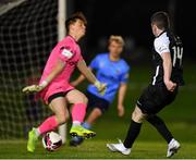 26 March 2021; James Doona of Athlone Town sees his shot on goal saved by UCD goalkeeper Lorcan Healy during the SSE Airtricity League First Division match between UCD and Athlone Town at the UCD Bowl in Belfield, Dublin. Photo by Seb Daly/Sportsfile
