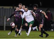 26 March 2021; Kieran Marty Waters of Cabinteely in action against Conor Crowley and Luke Turner of Wexford during the SSE Airtricity League First Division match between Wexford and Cabinteely at Ferrycarrig Park in Wexford. Photo by Matt Browne/Sportsfile