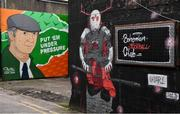 27 March 2021; Murals, including a mural of former Republic of Ireland manager Jack Charlton, are seen outside Dalymount Park ahead of the SSE Airtricity League Premier Division match between Bohemians and Longford Town at Dalymount Park in Dublin. Photo by Sam Barnes/Sportsfile