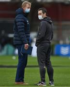27 March 2021; Munster head coach Johann van Graan, right and Leinster head coach Leo Cullen prior to the Guinness PRO14 Final match between Leinster and Munster at the RDS Arena in Dublin. Photo by Brendan Moran/Sportsfile