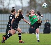 27 March 2021; Lucy McCartan of Peamount United in action against Aisling Frawley, left, and Ellen Molloy of Wexford Youths during the SSE Airtricity Women's National League match between Wexford Youths and Peamount United at Ferrycarrig Park in Wexford. Photo by Michael P Ryan/Sportsfile