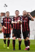 27 March 2021; Ross Tierney of Bohemians, centre, celebrates after scoring his side's second goal, with team-mates Liam Burt, left, and Keith Ward during the SSE Airtricity League Premier Division match between Bohemians and Longford Town at Dalymount Park in Dublin. Photo by Sam Barnes/Sportsfile