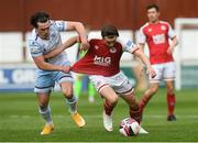 27 March 2021; Matty Smith of St Patrick's Athletic in action against James Brown of Drogheda United during the SSE Airtricity League Premier Division match between St Patrick's Athletic and Drogheda United at Richmond Park in Dublin. Photo by Matt Browne/Sportsfile