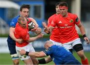 27 March 2021; Keith Earls of Munster is tackled by Jack Conan and Rhys Ruddock, right, of Leinster during the Guinness PRO14 Final match between Leinster and Munster at the RDS Arena in Dublin. Photo by Ramsey Cardy/Sportsfile