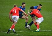 27 March 2021; Jordan Larmour of Leinster is tackled by Conor Murray of Munster during the Guinness PRO14 Final match between Leinster and Munster at the RDS Arena in Dublin. Photo by Ramsey Cardy/Sportsfile