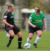 27 March 2021; Nicola Sinnott of Wexford Youths in action against Lucy McCartan of Peamount United during the SSE Airtricity Women's National League match between Wexford Youths and Peamount United at Ferrycarrig Park in Wexford. Photo by Michael P Ryan/Sportsfile