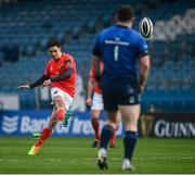 27 March 2021; Joey Carbery of Munster kicks a penalty during the Guinness PRO14 Final match between Leinster and Munster at the RDS Arena in Dublin. Photo by David Fitzgerald/Sportsfile
