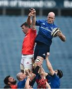 27 March 2021; Devin Toner of Leinster wins possession ahead of Peter O'Mahony of Munster from a line-out during the Guinness PRO14 Final match between Leinster and Munster at the RDS Arena in Dublin. Photo by David Fitzgerald/Sportsfile