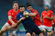 27 March 2021; Robbie Henshaw of Leinster is tackled by Chris Farrell and Damian de Allende of Munster during the Guinness PRO14 Final match between Leinster and Munster at the RDS Arena in Dublin. Photo by Brendan Moran/Sportsfile
