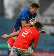 27 March 2021; Ross Byrne of Leinster is tackled by CJ Stander and Niall Scannell of Munster during the Guinness PRO14 Final match between Leinster and Munster at the RDS Arena in Dublin. Photo by Brendan Moran/Sportsfile