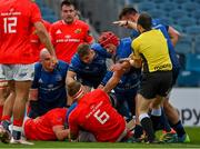 27 March 2021; Leinster players Jordan Larmour and Josh van der Flier claim a try is scored by team-mate Scott Fardy as referee Mike Adamson signals that the ball is held up during the Guinness PRO14 Final match between Leinster and Munster at the RDS Arena in Dublin. Photo by Brendan Moran/Sportsfile