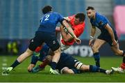 27 March 2021; Peter O'Mahony of Munster is tackled by Robbie Henshaw of Leinster during the Guinness PRO14 Final match between Leinster and Munster at the RDS Arena in Dublin. Photo by David Fitzgerald/Sportsfile