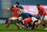 27 March 2021; Peter O'Mahony of Munster is tackled by Scott Fardy of Leinster during the Guinness PRO14 Final match between Leinster and Munster at the RDS Arena in Dublin. Photo by David Fitzgerald/Sportsfile