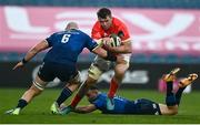27 March 2021; Peter O'Mahony of Munster is tackled by Rhys Ruddock of Leinster during the Guinness PRO14 Final match between Leinster and Munster at the RDS Arena in Dublin. Photo by David Fitzgerald/Sportsfile