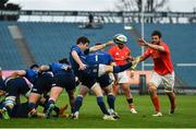27 March 2021; Luke McGrath of Leinster box kicks under pressure from Jean Kleyn of Munster during the Guinness PRO14 Final match between Leinster and Munster at the RDS Arena in Dublin. Photo by David Fitzgerald/Sportsfile