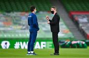 27 March 2021; Republic of Ireland manager Stephen Kenny with coach Keith Andrews, left, before the FIFA World Cup 2022 qualifying group A match between Republic of Ireland and Luxembourg at the Aviva Stadium in Dublin. Photo by Eóin Noonan/Sportsfile