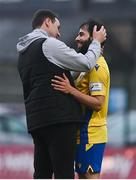 27 March 2021; Conor Davis of Longford Town, who scored twice in the second half, is congratulated by Longford Town manager Daire Doyle, left, following the SSE Airtricity League Premier Division match between Bohemians and Longford Town at Dalymount Park in Dublin. Photo by Sam Barnes/Sportsfile