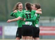 27 March 2021; Eleanor Ryan-Doyle of Peamount United celebrates after scoring her side's first goal with team-mates Dearbhaile Beirne and Karen Duggan during the SSE Airtricity Women's National League match between Wexford Youths and Peamount United at Ferrycarrig Park in Wexford. Photo by Michael P Ryan/Sportsfile