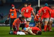 27 March 2021; Peter O'Mahony of Munster receives medical attention during the Guinness PRO14 Final match between Leinster and Munster at the RDS Arena in Dublin. Photo by David Fitzgerald/Sportsfile